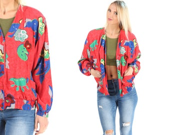 Retro Bomber Jacket 80s Bold Red Psyhedelic Print Jacket Top Women Button Up Retro Lined Bomber XXL