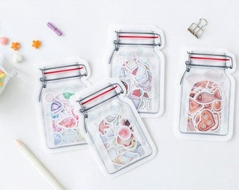 40 Pieces of Stickers in Mason Jar Shape Bag