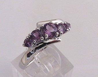 Silver knuckle ring and Amethyst size 58