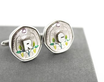 10 Year Anniversary Hand Painted Colour Coin Cufflinks with Swarovski Birthstone and initial charm - 2008 UK 20p Coin Cufflinks