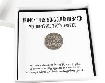 Thank You for being my bridesmaid Lucky Sixpence Coin Keepsake Gift, Bridesmaid Wedding gift,Lucky Coin Gift