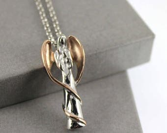 Two Tone Angel Cremation Necklace , Memorial Jewellery, Cremation Jewelry, Urn Necklace, Cremation necklace.