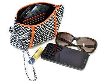 Wristlet bag , zipper bag,  clutch,  zipper pouch, Wristlet purse, Wrist strap clutch, black and white bag, orange trim bag, gift for her