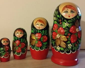 Matryoshka doll Russian 5 pieces or Strawberry