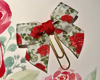 Floral Bow Planner Clip/Paper Clip/Bookmark/Traveler's Notebook/TN Clip - Roses
