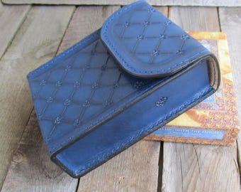 Fleur-de-lis Blue Large Deck Box Tarot leather Tarot bag Tarot leather case Tarot Card holder Leather bag  Doreen Virtue Oracle Cards