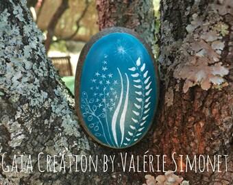 Pebble handpainted - Nature blue 3