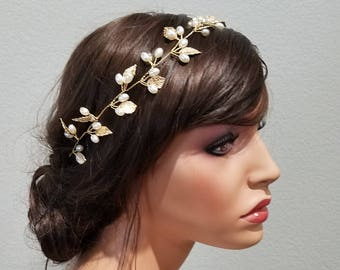 BELLA | Gold Bridal Headband / Hair Vine with Pearls and Gold Leaves - Free Shipping