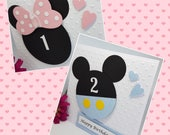 Personalised Baby Mickey Minnie Character Birthday Card Handmade Kids Son Daughter Grandson Granddaughter Niece Nephew BD74