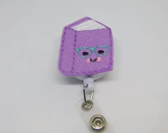 Little Book/Librarian/Teacher/Badge Reel/ID Badge Holder/Retractable Badge/Felt Covered Button