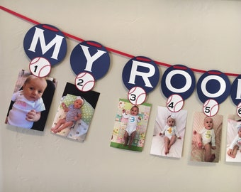 Baseball First Year Photo Banner, First Birthday | My Rookie Year Banner | Monthly Photo Banner | First Birthday Decorations, Banners