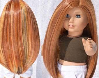 "Custom Doll Wig for 18"" Doll sized for American Girl Dolls, My Life, Journey Girls Rainbow Gingerbread"