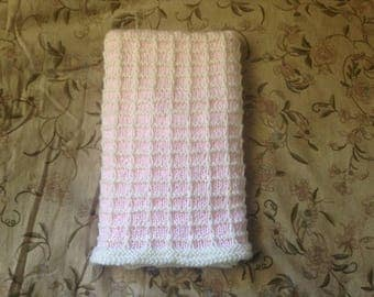 Pink and Antique White Baby Blanket