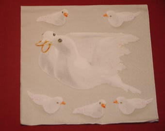 "napkin ""Doves"" wedding theme"