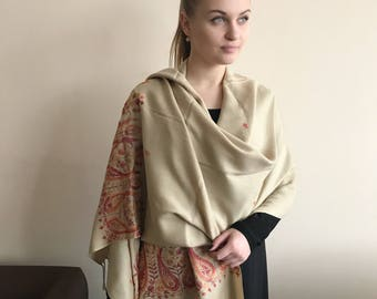 Cashmere beige Shawl Limited Edition Embroidered Paisley, Cashmere Wool Shawl, Kashmir cream  Wool Wrap, Woolen Winter  Stole