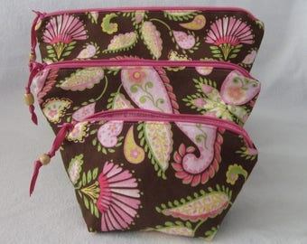 Paisley Pink/Brown Zippered Pouch Set in 3 Sizes, Stash Bags Great for Make-up, Various Personal Items and for organizing and gift giving.