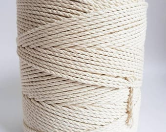 3mm cotton rope. 1.5kg Twisted cotton rope. Macrame rope. Macrame cord. about 550m cotton cord 3 strand 1/8in macrame rope. Cotton string