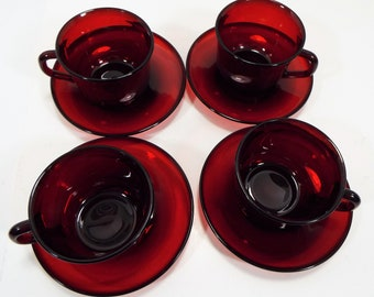 Vintage Arcoroc France Luminarc Cranberry Ruby Red Glass Coffee Tea Cup and Saucer (Sets of 4)