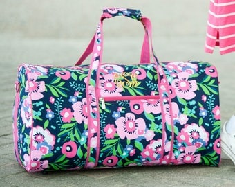Posie Collection, Pink Posie Duffel Bag, FREE Personalization, Personalized Duffel Bag, Monogrammed Duffel Bag, Embroidered Duffel Bag