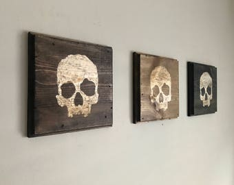Hand Carved|Skull Decor|Wood Wall Art|Halloween Decor|Skull Wall art|Wood Tiles|Tile Wall Art|Reclaimed Wood|Wood Decor|Gothic Art|Halloween