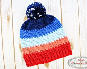 Crochet Pattern: Sunset Hat with Night Sky Pom-Pom *stars *moss stitch *instant download *easy *quick *winter *beanie *messy