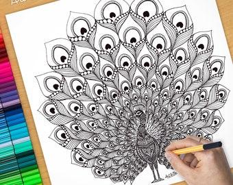 Affiche / Poster déco à colorier - PAON (90cm) coloriage pour adulte