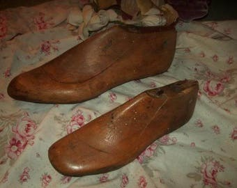 2 old wooden shoe forms
