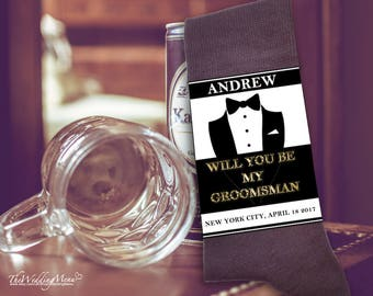 Groomsman proposal, Asking groomsman sock, Be my groomsman, Groomsman gift, Instant Download, Editable PDF template