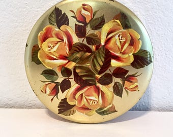 Vintage yellow rose candy tin