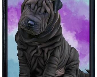 Shar Pei Dog Framed Canvas Print Wall Art