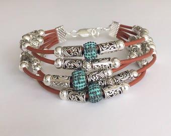 Leather bracelet /Beaded bracelet /Boho bracelet/Fashion jewelry /Bohemian jewelry /Women's leather bracelet