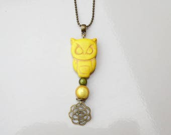 Yellow OWL magic beads and howlite necklace