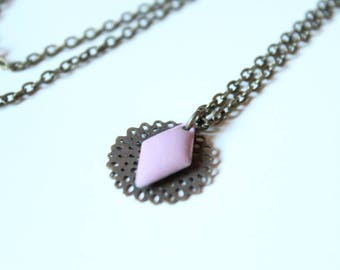 Filigree and enamel sequin old diamond purple pink rose necklace