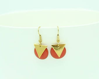 Sequin red enamel and gold triangle earrings