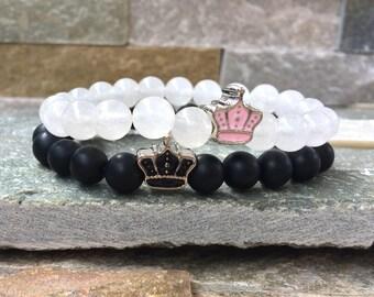 Partner bracelets Crown King & Queen bracelet set him and Onyx jade 8mm long distance relationship