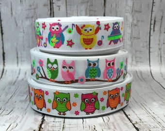 """7/8"""" Hoots Owl Glitter Animal Music Holiday Easter White Girls Baby Grosgrain Hairbow Ribbon  - Sold by 5 Yards"""