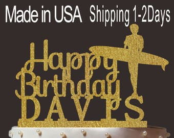 Any Name, Personalized Happy Birthday Cake Topper, Custom Surfer Cake Topper, Cardstock Birthday Topper, Create Your Own! Custom Name, PT002