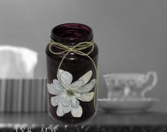 Magnolia Vase Glass Black Plum Color