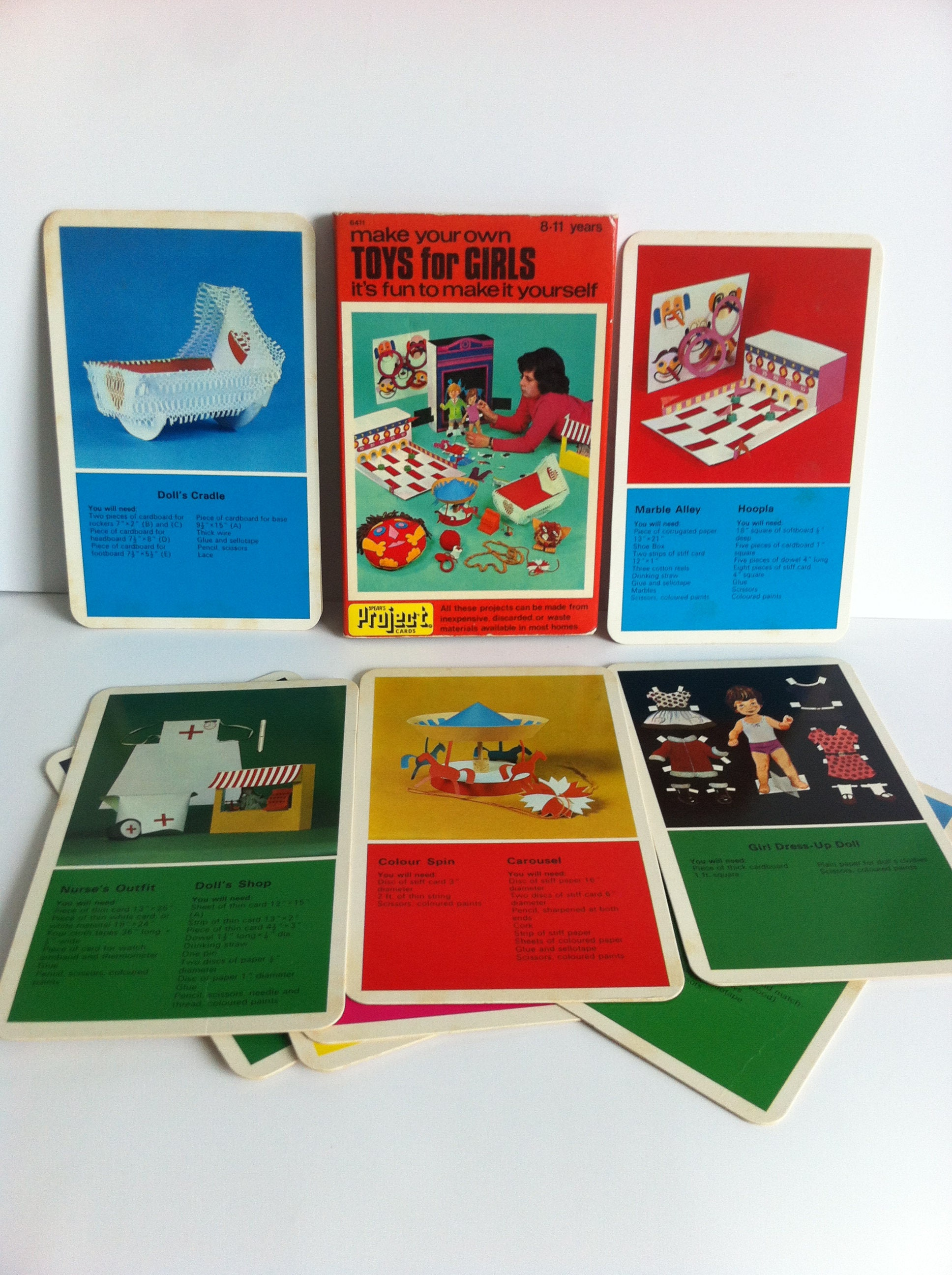 Vintage kids craft guides Spear s project cards 1970 s make