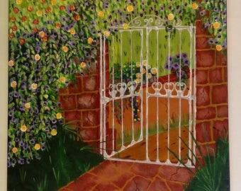 Portal flowery summer acrylic paint