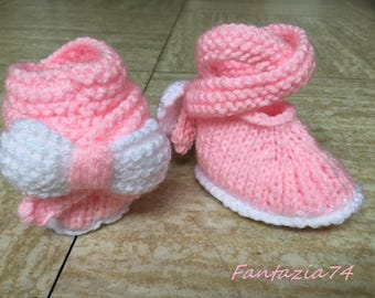 Knitted with bow tie newborn baby booties