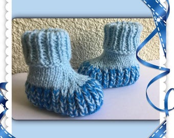Blue baby booties 3 months in wool