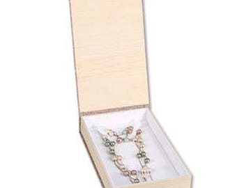 "Burlap paper necklace box, 4 5/8"" x 7 1/2"" x 1 3/8"", sold by the dozen"