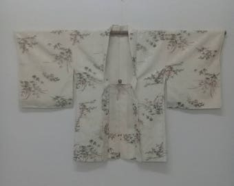 Vintage Kimono Haori Flower Printed Design/Silk Kimono Robe/Fashion Vintage