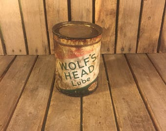 Vintage Wolf's Head Lube 5lb Can, Vintage Oil Can