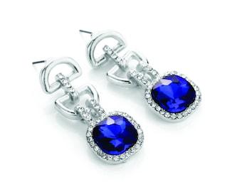 Luxurious Blue Geometric Chandelier Drop Earrings