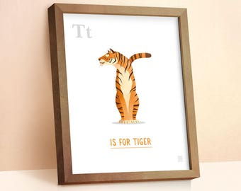 Tiger Print | Nursery Animal Print | Alphabet letters | Alphabet Print | ABC letters | Animal Prints for Nursery | Nursery Wall Art