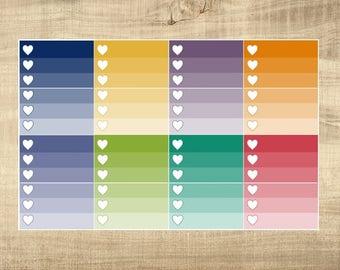 8 Multi-Coloured Ombre Half Check Box Stickers for Erin Condren LifePlanner
