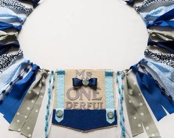Mr. Onederful Birthday Highchair High Chair Banner - Navy Blue Baby Blue and Gray - Diaper Cover Suspenders Bowtie - Cake Smash - Little Man