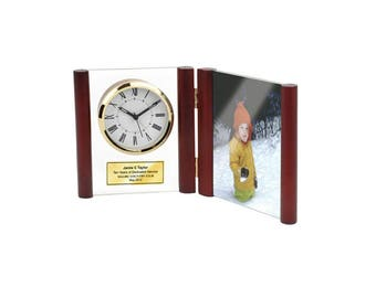 personalized clock glass book hinged wooden posts with photo frame holds 4x6 picture retirement award recognition